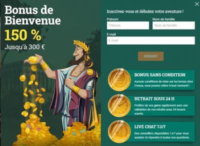 inscription et bonus sur Cresus Casino